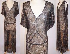 Vintage Black Lace Gold Metallic Lamé Bias Cut Evening Gown Dress