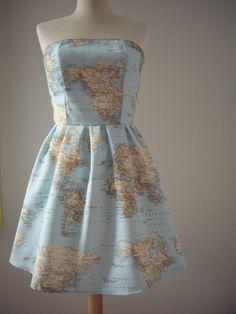 World Map Printed Strapless Cotton Summer Dress to match our latest world map wall murals. http://www.wallsrepublic.com/world-map-wallpaper-murals-s/2059.htm