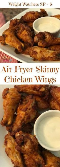 Air Fryer Buffalo Style Skinny Chicken Wings Recipe WW SP 6 #JustPlumCrazy #AirFryer #WeightWatchers #SmartPoints