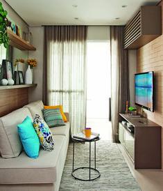 Apartamento pequeno com ambientes integrados e decoração neutra | Minha Casa