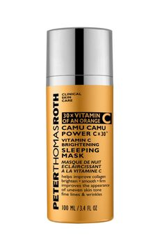 """One ingredient dermatologist Doris Day suggests you seeking is Vitamin C to """"help brighten and improve skin repair."""" This ultra hydrating overnight mask is powered by the superfruit camu camu berry, which boasts 30x more Vitamin C than an orange and lightens marks. For full results, apply two to three times a week. Peter Thomas Roth Camu Camu Power C x 3 Vitamin C Brightening Sleeping Mask, $62 ; peterthomasroth.com"""
