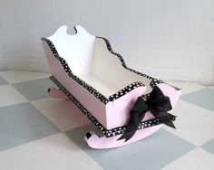 new ideas diy baby doll crib rocking chairs Baby Doll Furniture, Painted Furniture, Crib Makeover, Diy Christmas Room, Xmas, Baby Doll Crib, Pink Shelves, Wood Cradle, Black Baby Dolls