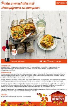 Pasta ovenschotel met champignons en pompoen - Lidl Nederland NB met rauwe pasta ipv gekookte pasta!!