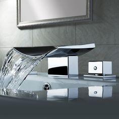Steam Showers Bathroom, Bathroom Sink Faucets, Bathroom Fixtures, Bathroom Storage, Bathroom Cabinets, Bathroom Organization, Pinterest Bathroom, Waterfall Faucet, Waterfall Shower