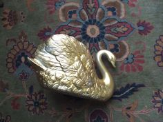 Golden Swan Ceramic Planter Vase FTDA Taiwan by lookonmytreasures