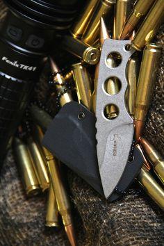 BOKER PLUS Mega Mini EDC Fixed Blade Knife, Silver