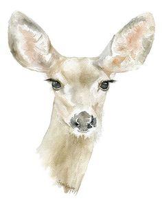 Doe Deer acuarela pintura 8 x 10 8.5x11 Giclee por SusanWindsor