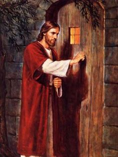 There is no door handle.. He knocks.. We have to open the door. ♥