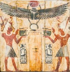 Egypt, Middle Egypt, Museum of Mallawi. A small naos, with Darius presenting Udjat Eye, under a winged scarab.