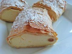 Topfenstrudel | curd strudel Sandwich Recipes, Cake Recipes, Vegan Recipes, Dessert Recipes, Sandwich Ideas, Austrian Desserts, Austrian Recipes, Cake Cookies, Bakery