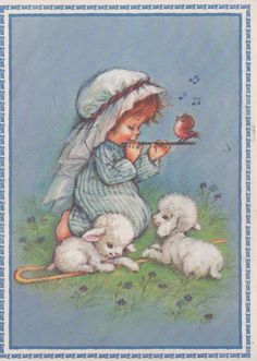 Used Christmas card, c1980s, girl with flute, bird, lambs, good shape by VintageNEJunk on Etsy
