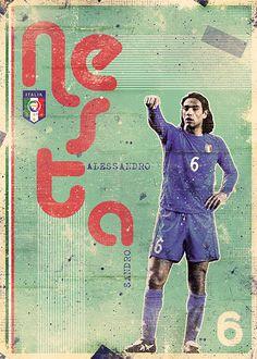 Azzurri Italia on Behance God Of Football, Legends Football, Retro Football, World Football, Soccer World, Vintage Football, Superstar Football, Italy National Football Team, Alessandro Nesta