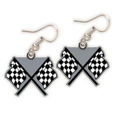 NASCAR Checkered Flag Dangle Earrings