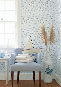 Something Fishy #wallpaper in #white and Mini Check #fabric in #lightblue from the Seaside collection. #Thibaut