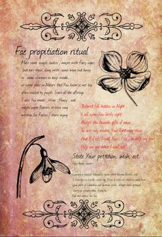 Fairy propitiation ritual and a Fairy-finder charm. Beltane approaches, and If You work with the Fae, or intent to work, this may come handy :) By lil old me, hope You'll like it. N-joy :)