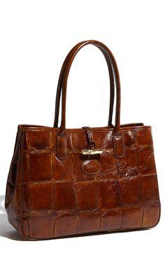 Longchamp Tortoise Embossed Leather Tote $510