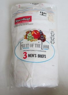 For sale in our eBay store...click photo for details  Vintage Fruit Of The Loom Men's Briefs White Size 42 Super Band 3 Pack USA New #FruitoftheLoom #BriefsVintage #vintage #mens #underwear #briefs #blastfromthepast #NOS #ebay #sale