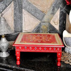Chowki Traditional Wooden Red Worship Puja Chowki Corner Side Table Handmade Bedside Stool for Wedding Gifts and Decor - Antique Wooden Red Worship Puja Chowki Corner Side Table Handmade Foot Stool by HouseOfHandicraft o - Bedside Stool, Wooden Footstool, Painting Antique Furniture, Pillar Candle Holders, Square Tables, Traditional Decor, Table Covers, Wedding Decor, Wedding Gifts