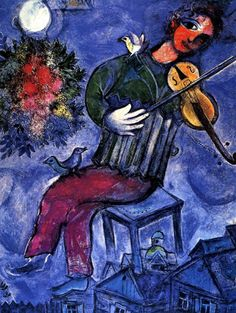 Blue Violinist, 1947, Marc (Moishe Shagal) Chagall (1887 - 1985), Russian. #art