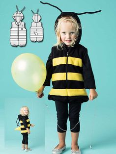 Buzz, buzz, buzz! This adorable little bee costume is a one-piece jumpsuit with stripes sewn on and a stinger in the back, which is made out of fleece.