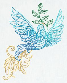 """""""Delicate December - Dove"""" Give Christmas decor a unique and lovely look with this dove inspired by traditional henna motifs! - UT7263 (Machine Embroidery) 00595187-1217131036-8"""