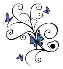 "This is the memorial design I'm doing on my foot! I found it years ago and saw it on here! Changing it a bit to fit me- one large butterfly to represent me, two small open butterflies-one pink/purple and one blue/green- to represent E and L, then 3 flying butterflies to represent my 3 m/c. And 6 ""branches"" to represent the years of treatments."