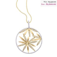 18K White Gold Water Lily Diamond Pendant