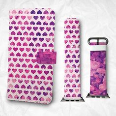 Gift Set iPhone case and Apple Watch Band 38mm 42mm Purple Heart iPhone 6S iPhone 6S Plus iPhone 5S iPhone 4S case (BBSG-032)