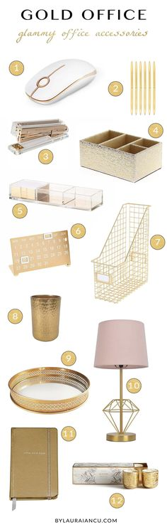 Home office ideas for a super chic desk. LOVE all these gold office accessories and supplies. Office design inspiration for work from home women, bloggers, entrepreneurs, etc. #HomeDecorAccessories #homeofficeideasforwomen