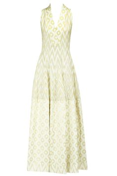 Cream zigzag printed gown available only at Pernia's Pop-Up Shop. Indian Dresses, Indian Outfits, Eastern Dresses, Anita Dongre, Pernia Pop Up Shop, Bridal Fashion Week, Knee Length Dresses, Buy Dress, Ruffle Dress