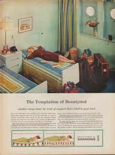 """1960 Simmons Beautyrest Mattress Ad """"Temptation"""" ~ The dimensions of the full-page advertisement are approximately inches x inches cm x cm). Retro Advertising, Retro Ads, Vintage Advertisements, Vintage Ads, Vintage Prints, Vintage Posters, Furniture Ads, Vintage Furniture, Simmons Beautyrest"""