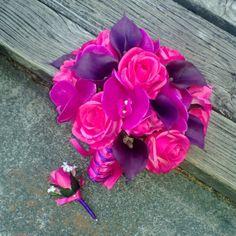 Real touch Fushia Orchids Deep Purple Calla by SilkFlowersByJean, $90.00