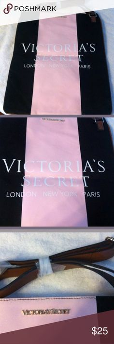 Victoria's Secret blk & pink large canvas tote bag Never used tote bag, very cute. Victoria's Secret Bags Totes