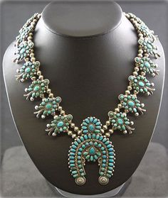 Squash Blossom Necklace | Artist ? (Zuni).  Sterling silver and Kingman Turquoise.  ca. 1935 - 1950