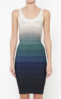 Herve Leger Blue, Cream And Multicolor Dress (Not like I could afford it, but oh is it gorgeous!)
