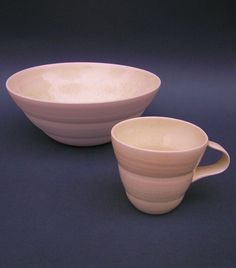 bowl and cup, porcelain with rutile glaze