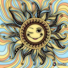 Sun Moon Stars, Sun And Stars, Zentangle, Cosmos, Good Day Sunshine, Bright Art, Happy Hippie, Sun Art, Moon Design