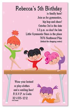 gymnastics party invitation