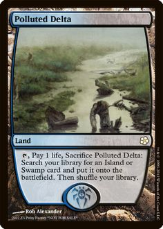 Polluted Delta, zeerbe, proxy, digital render, MTG, Z's Proxy Factory, fetch land, Magic the Gathering