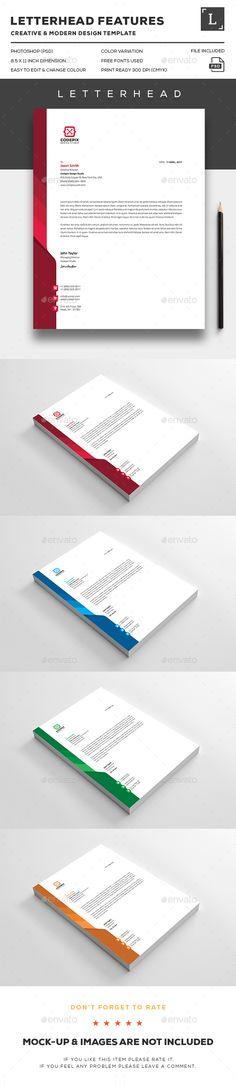 Letterhead Design Template - Stationery Print Template PSD. Download here: http://graphicriver.net/item/letterhead/16411813?s_rank=68&ref=yinkira