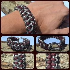 The Dragon Claw pattern paracord bracelet inspired by JD Lenzen's Tying It All Together (TIAT) with a metal D-shackle.
