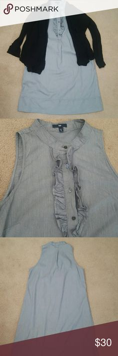 GAP shirt dress Exquisite gray shirt dress with ruffles and gentle pleats. No defined waist but has pockets! Pairs well with everything,a good addition to every closet. GAP Dresses