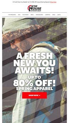 d840f5659622 A Fresh New You Awaits! Up To 80% Off Casual Spring Apparel - The House  Outdoor Gear Email Archive