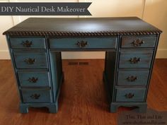 DIY Nautical Desk Makeover via This, That and Life--ooohhh love the colors Paint Furniture, Furniture Projects, Home Furniture, Refurbishing Furniture, Diy Projects, Desk Makeover, Furniture Makeover, Nautical Desks, Diy Desk