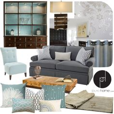 """Chic Blue and Grey Living Room"" by kimmyellipsis on Polyvore"