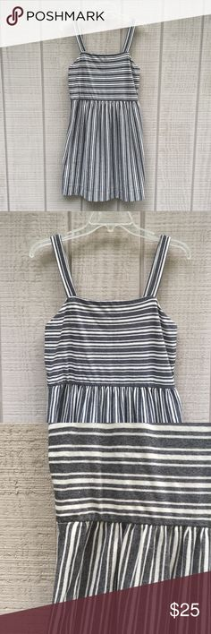 """Ann Taylor LOFT preppy grey & cream striped dress This preppy Ann Taylor LOFT dress features 1"""" thick straps, dark grey and cream stripes, and a lovely pleated waistline. Material is 100% cotton and in NWOT condition!   Chest: 16"""" across Waist: 15"""" across Length: 36 1/2""""   Remember to bundle with other items from this closet to receive 15% off your purchase and to save on shipping! LOFT Dresses"""