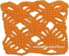 Punto fantasía con rombos y cadenas tejido a crochet