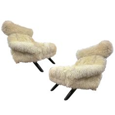 Illum Wikkelso Spectacular Hammer Lounge Chair Covered in Natural Sheepskin Fur | From a unique collection of antique and modern lounge chairs at https://www.1stdibs.com/furniture/seating/lounge-chairs/