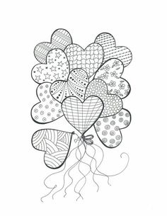 Items Similar To Drawing For Coloring Bouquet Of Heart Balloons Color In With Markers And Pencils PDF File EAWT On Etsy