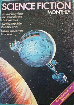 """Science Fiction Monthly Vol1 No 1 British SF magazine published by New English Library from 1974-76 with a total of 28 issues. Loose leaf, with poster-size artwork from NEL books, it also featured fiction, articles on SF, letters, news, and features on artists and writers. The cover of the first issue is from """"The Lost Worlds of 2001"""" and is by Bruce Pennington"""